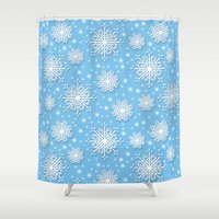 snowflake Shower Curtains featuring Snowflake by Michelle Ryan
