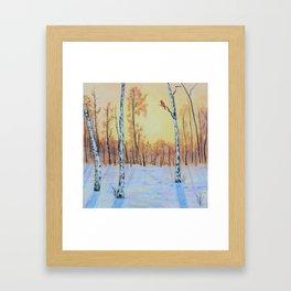 Winter Birches - Cardinal Right Framed Art Print