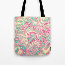 Pink Turquoise Girly Chic Floral Paisley Pattern Tote Bag