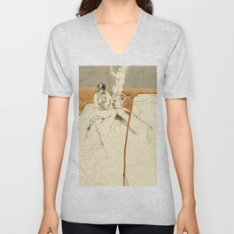 Nude Female Figure Drawing and Tree with Copper Grey Watercolour Unisex V-Neck