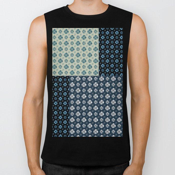Vintage Tiles #society6 #pattern #indigo Biker Tank