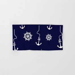 Nautical Navy Pattern with Anchors and Steering Wheels Hand & Bath Towel