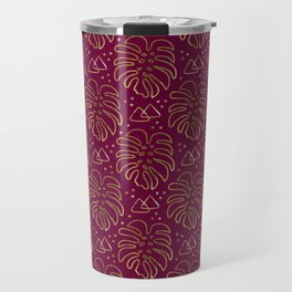 Gold Monstera on Purple Travel Mug