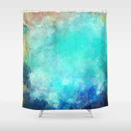 Watercolor Aerial View of Ocean Cove {Gold Coast} Shower Curtain