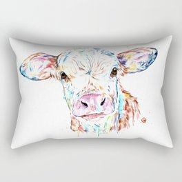 Manitoba Cow - Colorful Watercolor Painting Rectangular Pillow