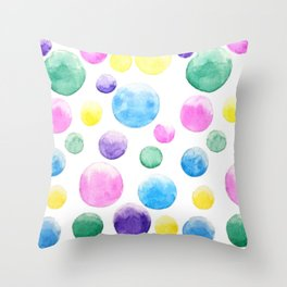 cheerful colorful bubbles Throw Pillow