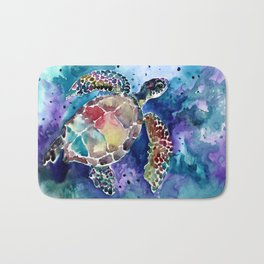 Sea Turtle underwater, beach deep blue barine blue turtle beach style design Bath Mat