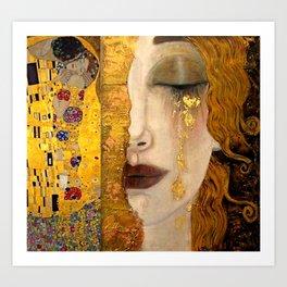Gustav Klimt portrait The Kiss & The Golden Tears (Freya's Tears) No. 2 Art Print