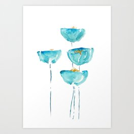 blue poppy watercolor Art Print