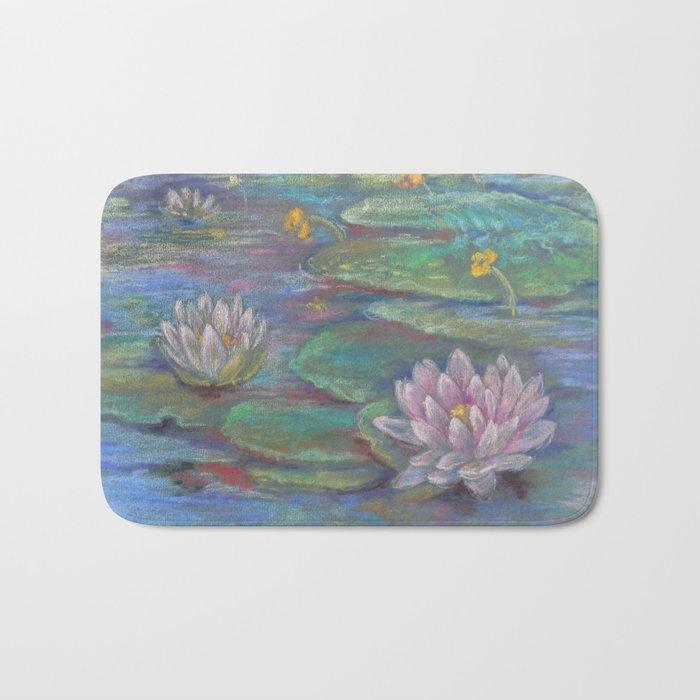 Memory Foam Water Lily.Water Lilies Pastel Drawing Zen Style Landscape Bath Mat