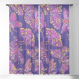 Butterfly Pattern Pink Purple Blue Sheer Curtain