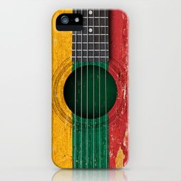 Old Vintage Acoustic Guitar with Lithuanian Flag iPhone Case