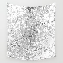 Austin White Map Wall Tapestry
