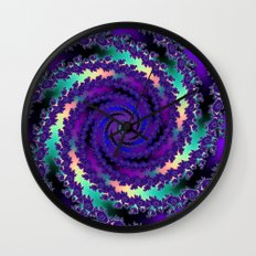 Purple Hurricane Fractal Wall Clock