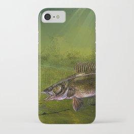 Walleye, the Chase (walleye fishing art) iPhone Case