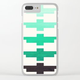 Teal Turquoise Minimalist Abstract Inca Pattern Midcentury Watercolor Geometric Painting Clear iPhone Case
