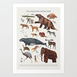 Animal chart of the Holocene extinction Art Print