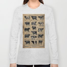 Vintage 1896 Cows Study on Antique Lancaster County Almanac Long Sleeve T-shirt