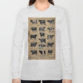 Vintage 1896 Cows Study on Antique Lancaster County Almanac Long Sleeve T-shirt