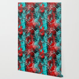 Abstract geometric pattern with Leaves contours. red maroo Wallpaper