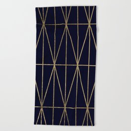 Modern gold geometric triangles pattern navy blue watercolor Beach Towel