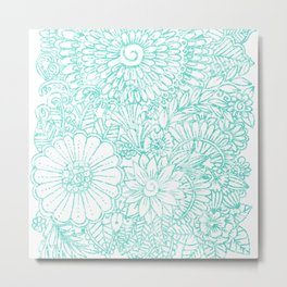 Artistic teal white hand painted floral pattern Metal Print