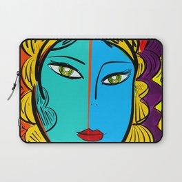 Orange Pop Girl Portrait Illustration Laptop Sleeve
