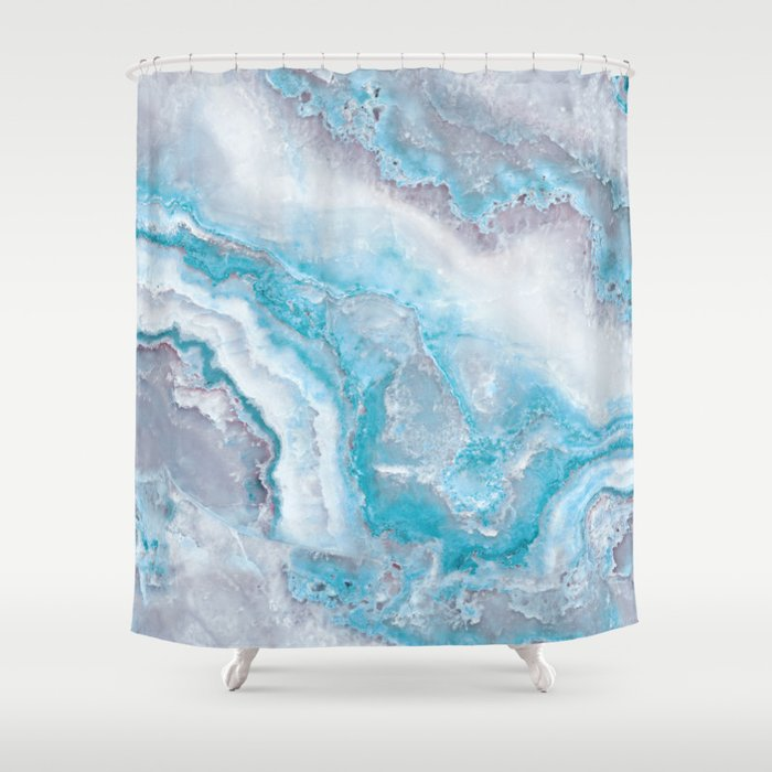 Ocean Foam Mermaid Marble Shower Curtain