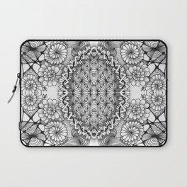 Black and White Zentangle Tile Doodle Design Laptop Sleeve