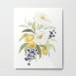 Watercolor Flowers with Blueberries Metal Print