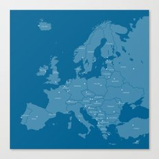Europe map - blue Canvas Print
