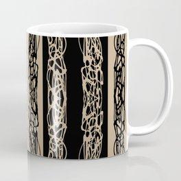 Taupe Black Striped Squiggle Pattern Coffee Mug