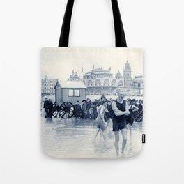 On the beach in 1900, history swimwear Tote Bag