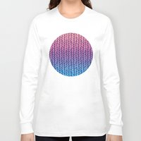 knit Long Sleeve T-shirts featuring Chunky Knit Pattern in Pink, Blue & Purple by micklyn