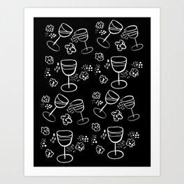 Wine & Popcorn Art Print