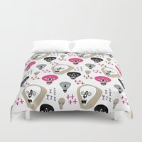 skulls Duvet Covers featuring Skulls by KatrinDesign