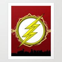 Central City (The Flash) White Emblem Art Print