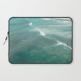California Surf // Coastal Spring Waves Teal Blue and Green Ocean Huntington Beach Views Laptop Sleeve