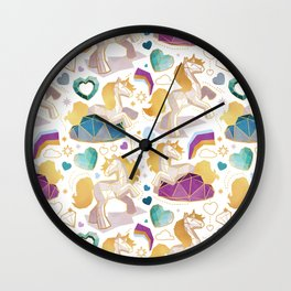 Kicking off some magic // white background white and grey unicorns violet blue and aqua hearts clouds and rainbows golden lines Wall Clock