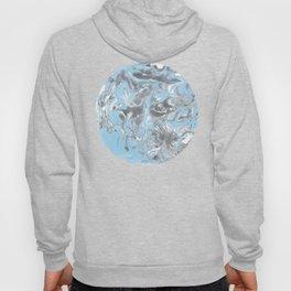 Cyan and grey Marble texture acrylic Liquid paint art Hoody