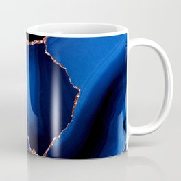 Royal Blue, Ebony Black & Rose Gold Marbled Agate Coffee Mug