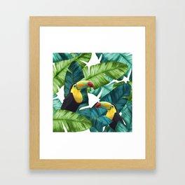 Toucans Tropical Banana Leaves Pattern Framed Art Print