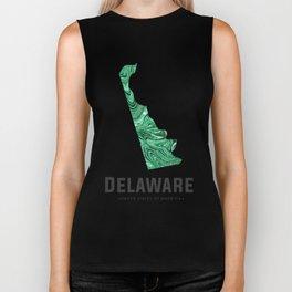 Delaware - State Map Art - Abstract Map - Green Biker Tank