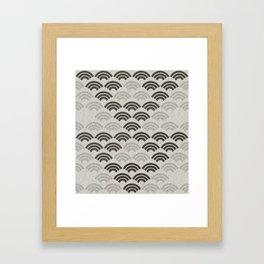 black and white japanese pattern Framed Art Print