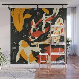 Koi in Black Water Wall Mural