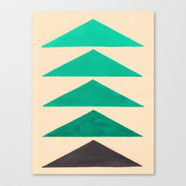 Colorful Turquoise Green Geometric Pattern with Black Accent Canvas Print