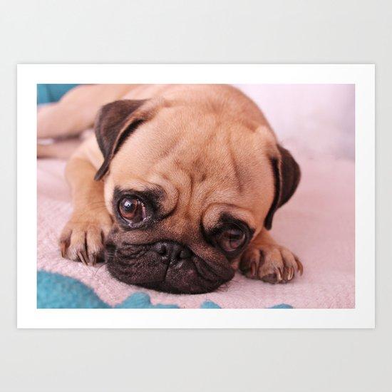 Pug Before Nap Art Print