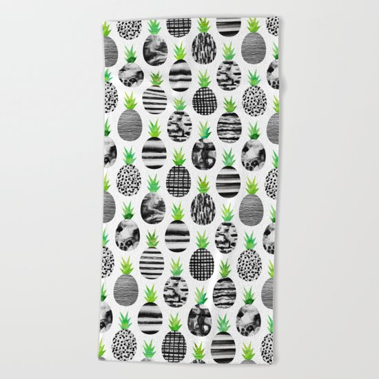 Black & White Pineapples Beach Towel
