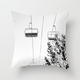 Ski Lift // Black and White Daylight Chairlift Mountain Photograph Throw Pillow