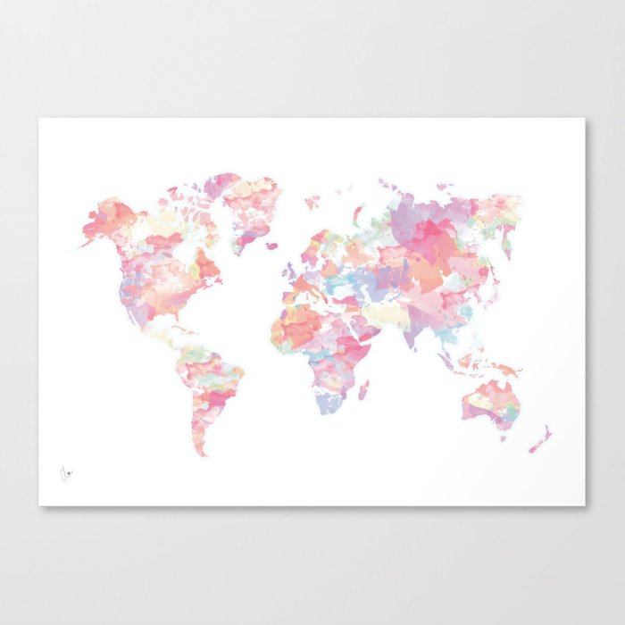 Watercolour world map pink canvas print by cloverchen society6 watercolour world map pink canvas print gumiabroncs Gallery
